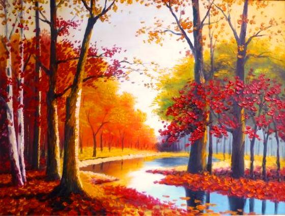 Tranh đá quý rừng lá đỏ sang trọng và sắc nét